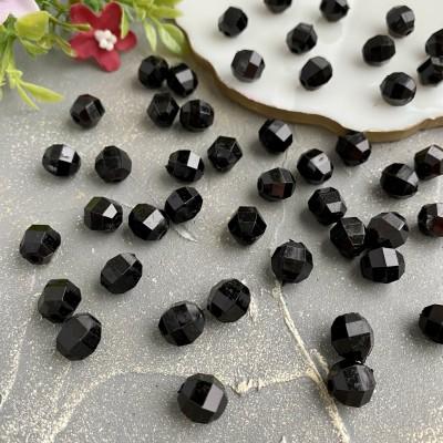 Бусины граненые 10 мм, черный (10 шт)