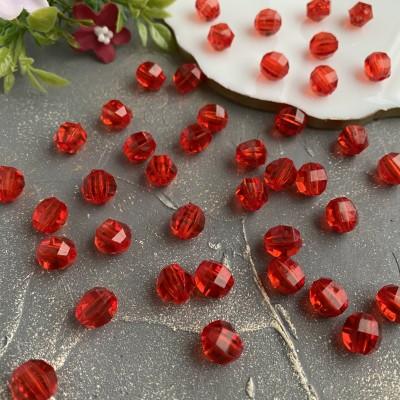 Бусины граненые 10 мм, красный (10 шт)