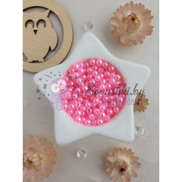 Бусины 4 мм, розовый