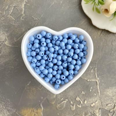 Бусины однотонные 6 мм, голубой