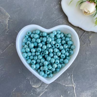 Бусины перламутровые 6 мм, голубой (10 гр)