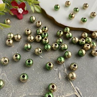 """Бусины 8 мм """"Металлик"""" (10 шт), зеленый/золото"""