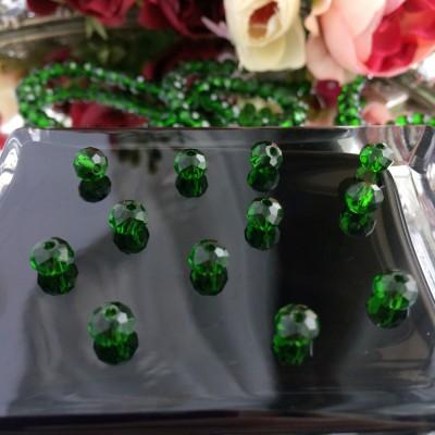 """Бусины стеклянные """"Rondellе"""" 6 мм, зеленый"""