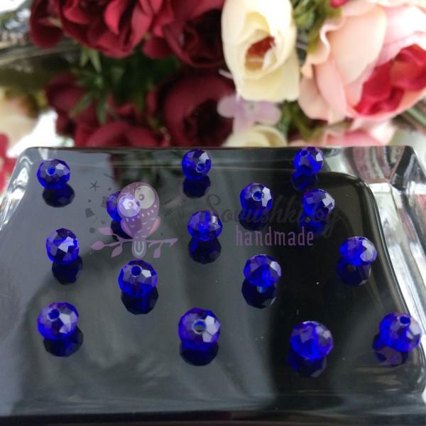 """Бусины стеклянные """"Rondellе"""" 6 мм, синий"""