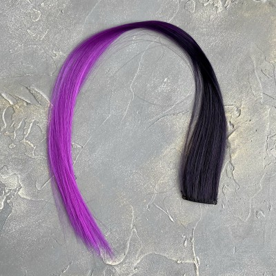 Прядь волос на заколке, черный/темно-сиреневый