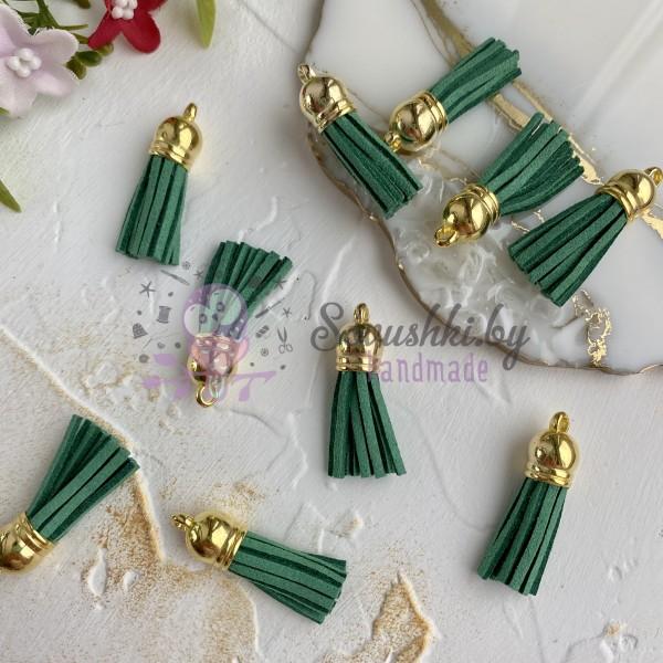 Замшевые кисточки с золотым колпачком, зеленые
