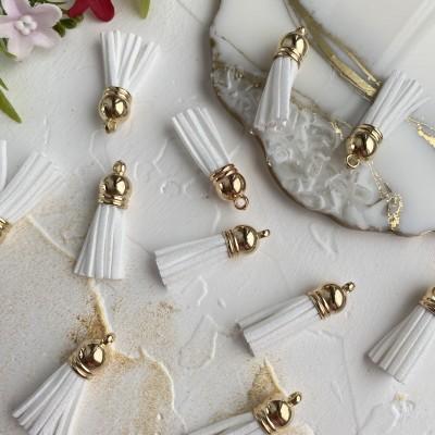 Замшевые кисточки с золотым колпачком, белые