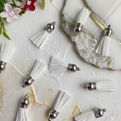Замшевые кисточки с серебряным колпачком, белые