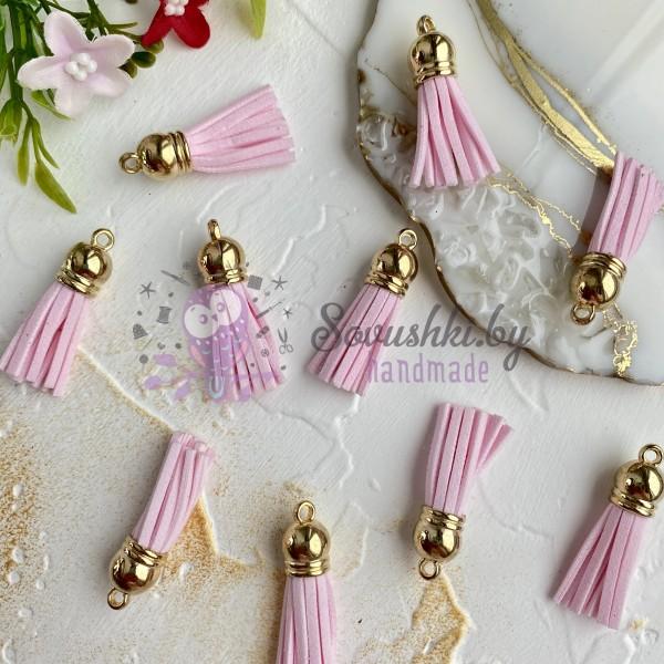 Замшевые кисточки с золотым колпачком, светло-розовые