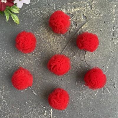 Помпоны из фатина 2,5 см, красный