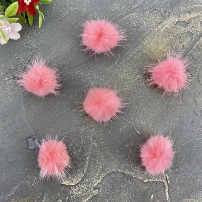 Помпоны меховые натуральные 3 см, розовый №18