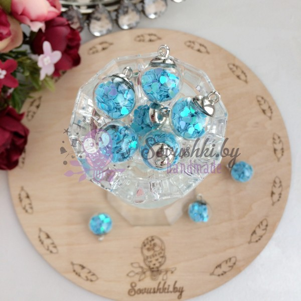 Подвеска стеклянный шарик с сердечками, голубой