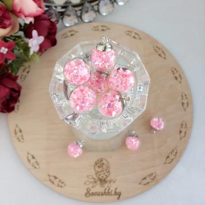 Подвеска стеклянный шарик с пирамидками, светло-розовый
