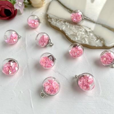 Подвеска стеклянный шарик со звездами, розовый