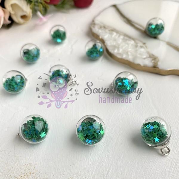 Подвеска стеклянный шарик со звездами, зеленый