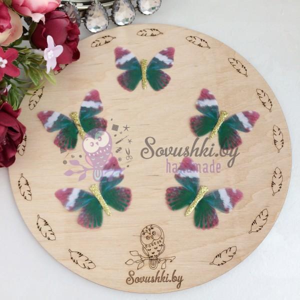 Шифоновые бабочки с блестками средние 4.5 см (74)