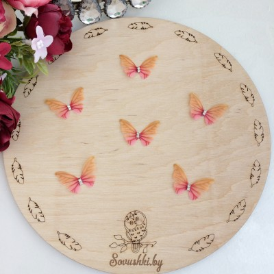 Шифоновые бабочки со стразами маленькие 3 см (64)