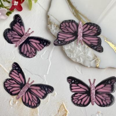 Шифоновые бабочки с блестками большие 5,6 см (13)