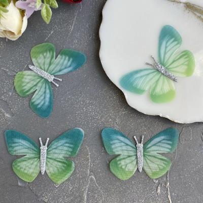 Шифоновые бабочки с блестками большие 6 см (5)