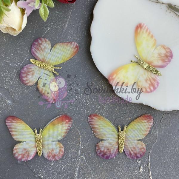 Шифоновые бабочки с блестками большие 5,8 см (8)