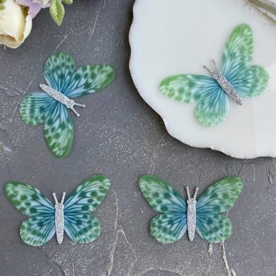 Шифоновые бабочки с блестками большие 6 см (15)