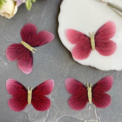 Шифоновые бабочки с блестками большие 6,5 см (3)