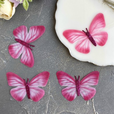 Шифоновые бабочки с блестками большие 6 см (1)