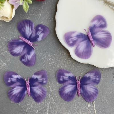Шифоновые бабочки с блестками большие 6 см (11)