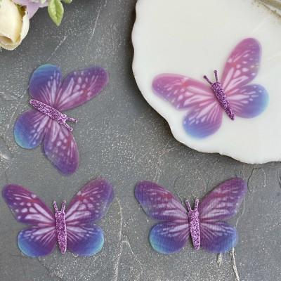 Шифоновые бабочки с блестками большие 6 см (7)