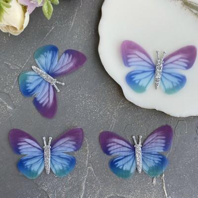 Шифоновые бабочки с блестками большие 6 см (2)