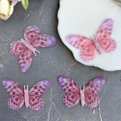 Шифоновые бабочки с блестками большие 6 см (6)