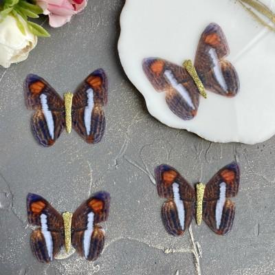 Шифоновые бабочки с блестками средние 4.5 см (52)