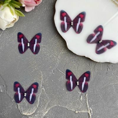 Шифоновые бабочки со стразами маленькие 3 см (6)