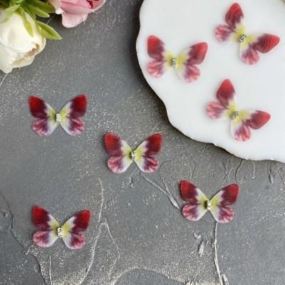 Шифоновые бабочки со стразами маленькие 3 см (32)