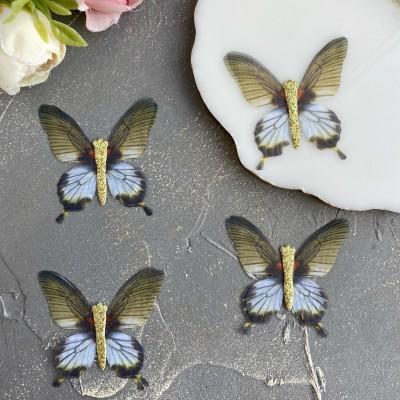 Шифоновые бабочки с блестками средние 4.5 см (54)