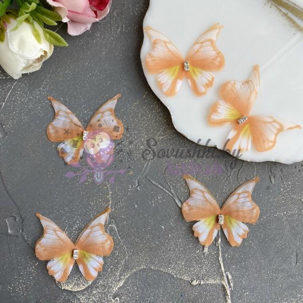 Шифоновые бабочки со стразами средние 4.5 см (38)