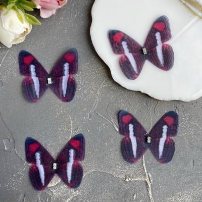 Шифоновые бабочки со стразами средние 4.5 см (41)
