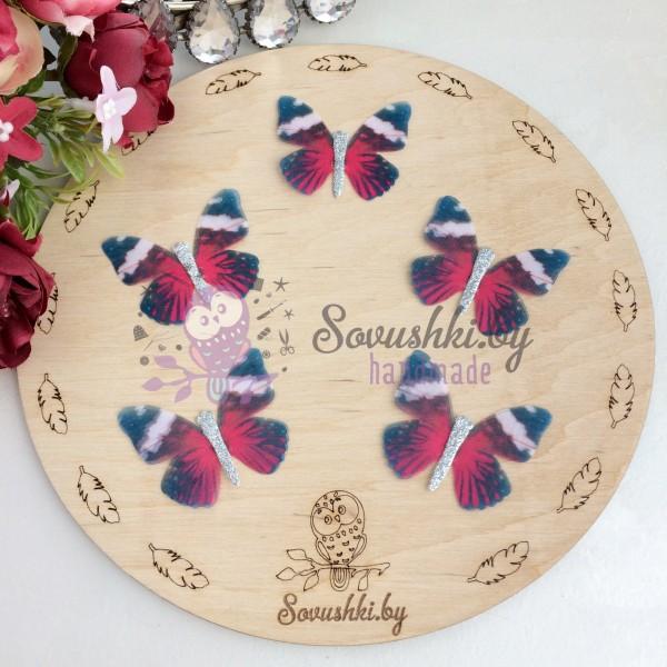 Шифоновые бабочки с блестками средние 4.5 см (85)