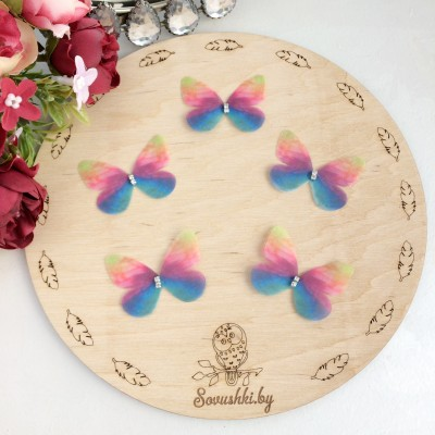 Шифоновые бабочки со стразами средние 4.5 см (91)