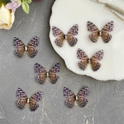 Шифоновые бабочки со стразами маленькие 3 см (8)