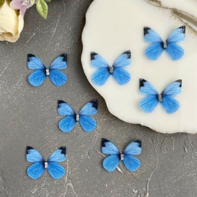 Шифоновые бабочки со стразами маленькие 3 см (21)