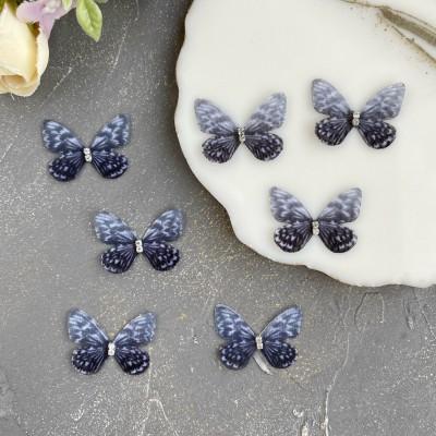Шифоновые бабочки со стразами маленькие 3 см (7)