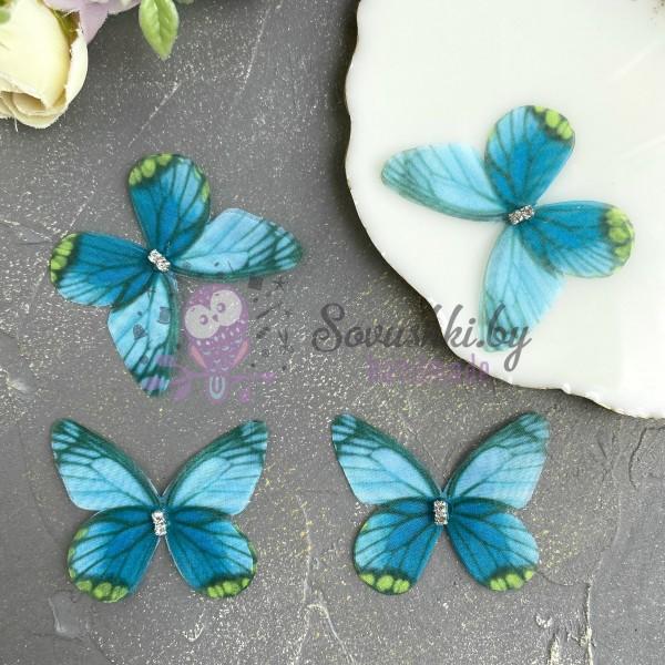 Шифоновые бабочки со стразами средние 4.5 см (22)
