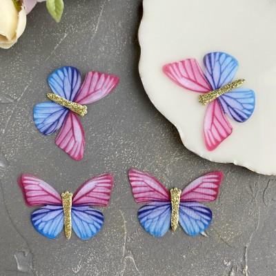 Шифоновые бабочки с блестками средние 4.5 см (49)