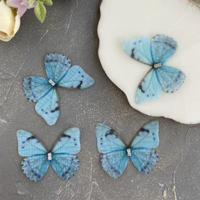 Шифоновые бабочки со стразами средние 4.5 см (5)