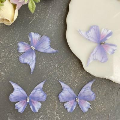 Шифоновые бабочки со стразами средние 4.5 см (35)