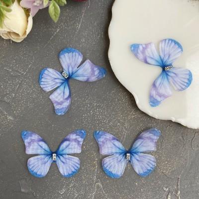 Шифоновые бабочки со стразами средние 4.5 см (8)