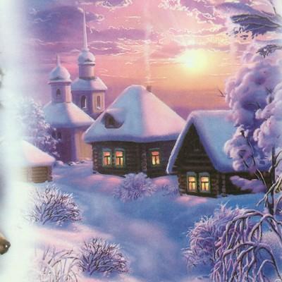 """Декупажная карта """"Зимнее волшебство"""""""