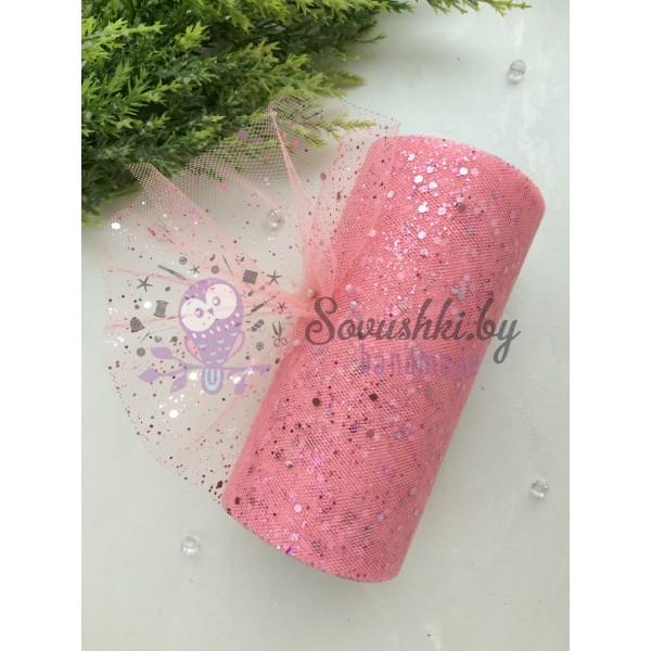 Фатин с пайетками, розовый персик