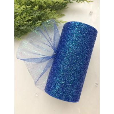 Фатин с блестками, синий